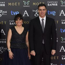 Judith Colell y Pedro Sánchez en los Premios Goya 2015