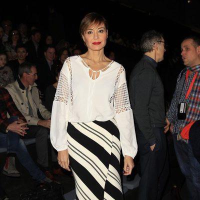 Juncal Rivero en el front row de Hannibal Laguna en Madrid Fashion Week otoño/invierno 2015/2016