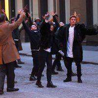 Carly Rae Jepsen y Justin Bieber en el rodaje de un anuncio en Nueva York