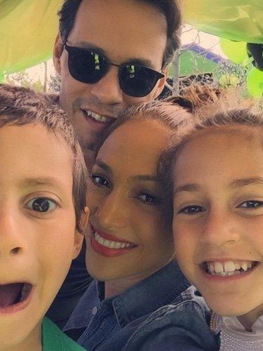 Marc Anthony y Jennifer Lopez en el cumpleaños de sus hijos Emme y Max
