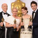 Los cuatro intérpretes vencedores en los Oscar 2015 posan juntos
