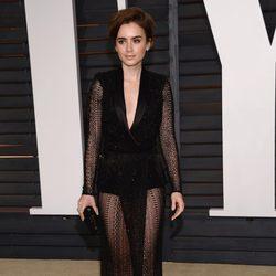 Lily Collins en la fiesta Vanity Fair tras los Oscar 2015