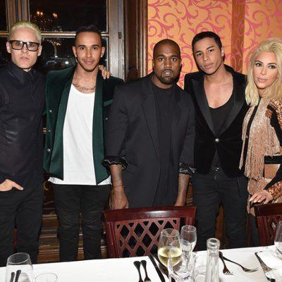 Jared Leto, Lewis Hamilton, Kanye West, Olivier Rousteing y Kim Kardashian en la Paris Fashion Week