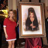 Terelu Campos inaugurando su cuadro como musa de la Exaltación de la Mantilla