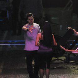 El bailarín Casper Smart con Nicki Minaj en el rodaje del video 'The Night Is Still Young'