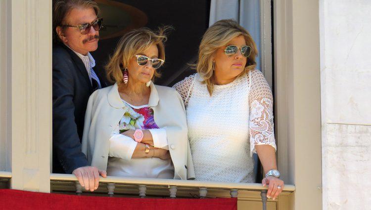 María Teresa Campos, Terelu Campos y Bigote Arrocet en la Semana Santa de Málaga 2015