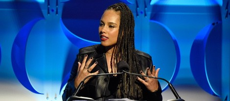 Alicia Keys durante el discurso de presentación de la plataforma Tidal