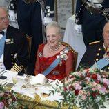 Margarita de Dinamarca en su 75 cumpleaños junto al Rey de Suecia y al de Noruega