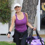 Ivonne Reyes saliendo del gimnasio