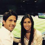 Fernando Verdasco y Ana Boyer en el partido de Champions Real Madrid - Atlético de Madrid