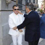 Emilio González en el funeral de su novia María Pineda en Madrid