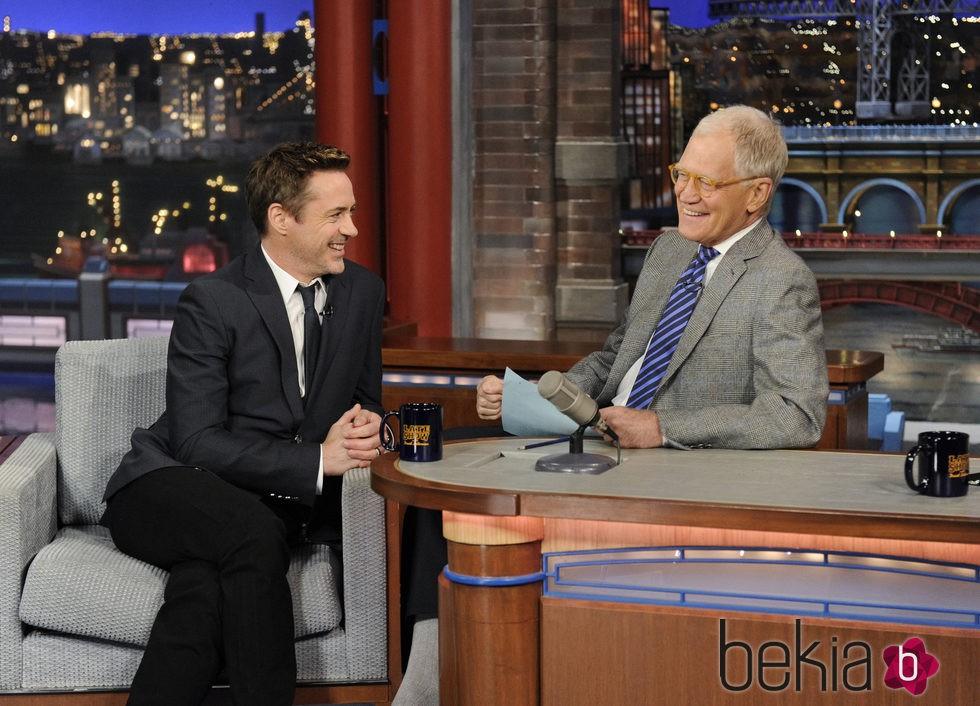 Robert Downey Jr. en el show de David Letterman en Nueva York