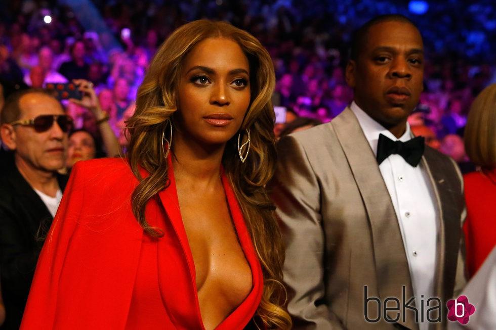 Beyoncé y Jay Z en el 'Combate del Siglo' en Las Vegas