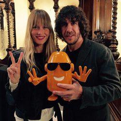 Carles Puyol y Vanesa Lorenzo durante la presentación de 'Epidemia: The Game'