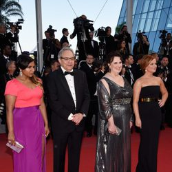Mindy Kaling, Lewis Black, Phyllis Smith y Amy Poehler en el estreno de 'Inside Out' en Cannes 2015
