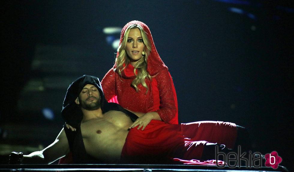 Edurne y Giuseppe di Bella durante su segundo ensayo en Viena para Eurovisión 2015