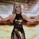 Edurne con un vestido dorado de lentejuelas en el segundo ensayo para Eurovisión 2015