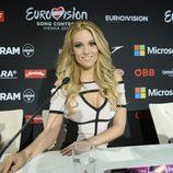 Edurne en la rueda de prensa previa al Ensayo del Jurado en Eurovisión 2015