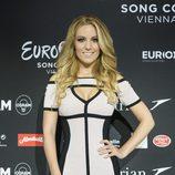 Edurne posa tras el primer ensayo general de la final de Eurovisión 2015