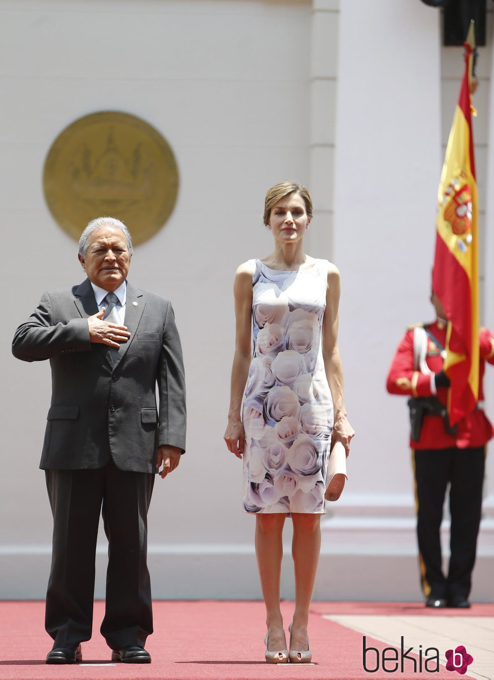 La Reina Letizia con el Presidente Salvador Sánchez Cerén en su almuerzo de despedida en El Salvador