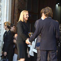 La Infanta Cristina ríe junto a Kitín Muñoz en el funeral de Kardam de Bulgaria