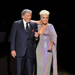 Tony Bennett y Lady Gaga en un concierto benéfico en Londres