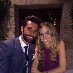 Álvaro Arbeloa y Carlota Ruiz en la boda de José Callejón y Marta Ponsati