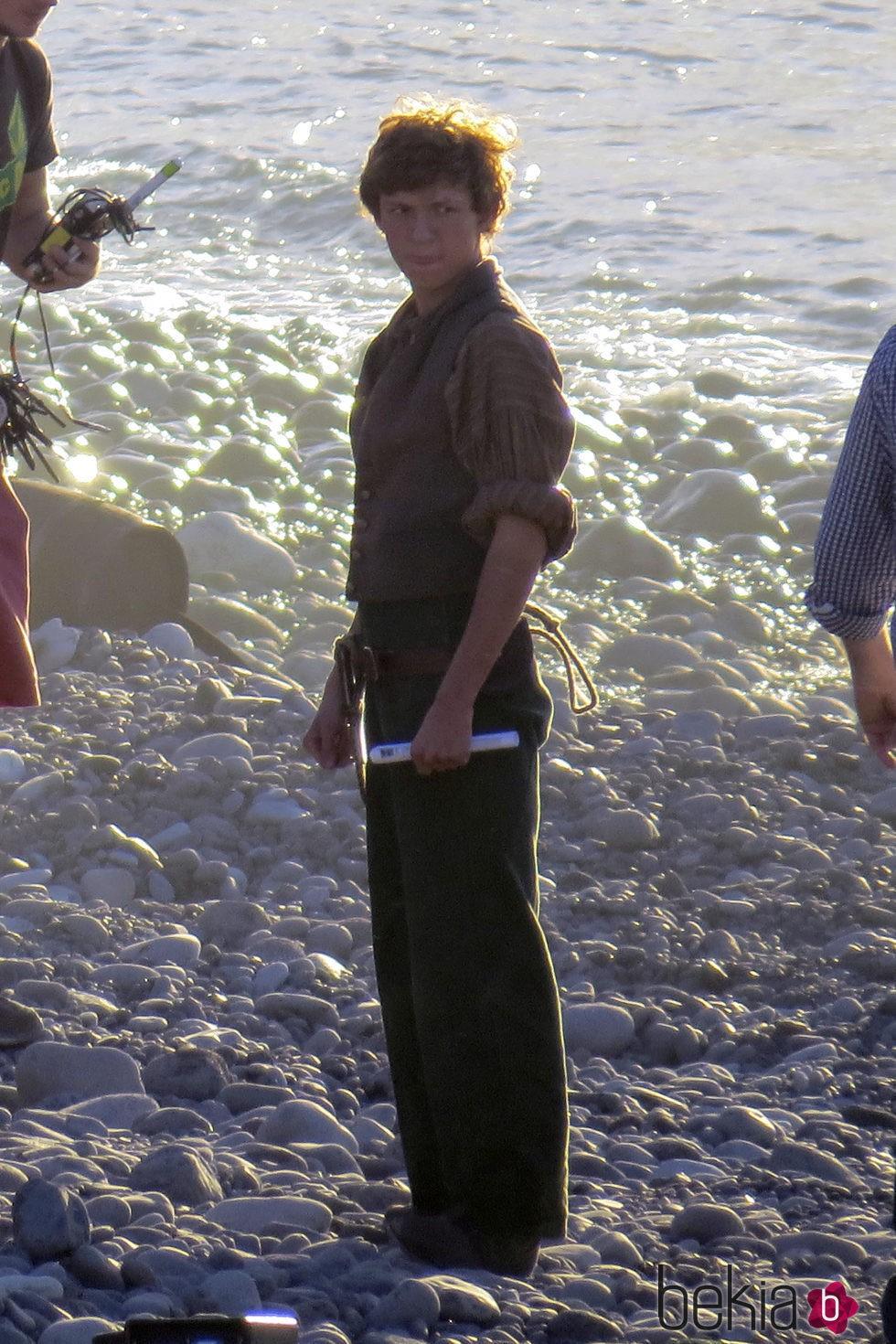 Tom Holland en el rodaje de 'En el corazón del mar' en las Islas Canarias