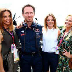 Emma Bunton, Geri Halliwell y Melanie C en el Gran Premio de Gran Bretaña