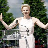 La Princesa Charlene de Mónaco dedicándole unas palabras a su marido el Príncipe Alberto