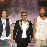 Jorge Javier Vázquez con Christopher y Nacho Vidal en la final de 'Supervivientes 2015'