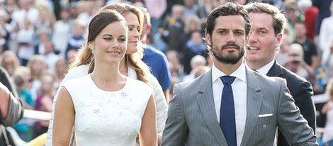 Sofia Hellqvist con Carlos Felipe de Suecia en su primer acto oficial como Princesa de Suecia