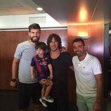 Gerard Piqué, Carles Puyol, Milan Piqué y Xavi Hernández