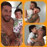 Sergio Ramos celebra con su hijo Sergio Jr la vuelta a casa tras la gira con el Real Madrid