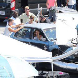 Jennifer Garner y Queen Latifah en el set de rodaje de 'Miracles From Heaven'