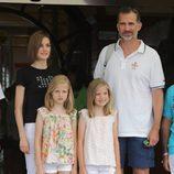 Los Reyes Felipe y Letizia, la Princesa Leonor y la Infanta Sofía en la última jornada de la Copa del Rey de Vela