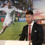 Sergio Ramos durante su acto de renovación con el Real Madrid hasta 2020