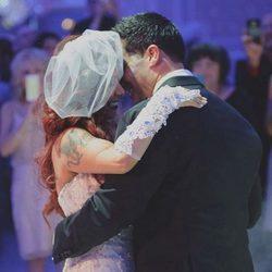 Snooki con su marido en el día de su boda