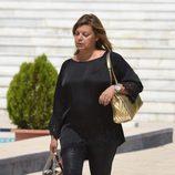 Terelu Campos llegando a la capilla ardiente de su tía Araceli Campos