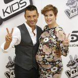 Jesús Vázquez y Tania Llasera en la presentación de la 'La Voz Kids 2'