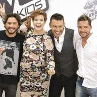 Manuel Carrasco, Tania Llasera, Jesús Vázquez y David Bisbal en la presentación de la 'La Voz Kids 2'