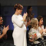 Tania Llasera en el front row del desfile de Couchel en Madrid Fashion Show Women