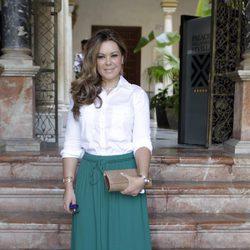María José Campanario en la presentación de la nueva colección de Roberto Diz en Sevilla