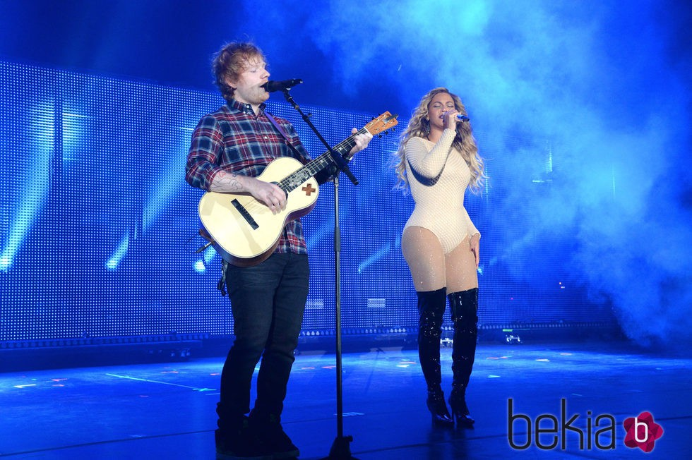 Ed Sheeran y Beyoncé en el Global Citizen Festival 2015