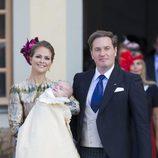 La princesa Magdalena de Suecia y su marido Christopher O'neill en el bautizo del pequeño Nicolás de Suecia