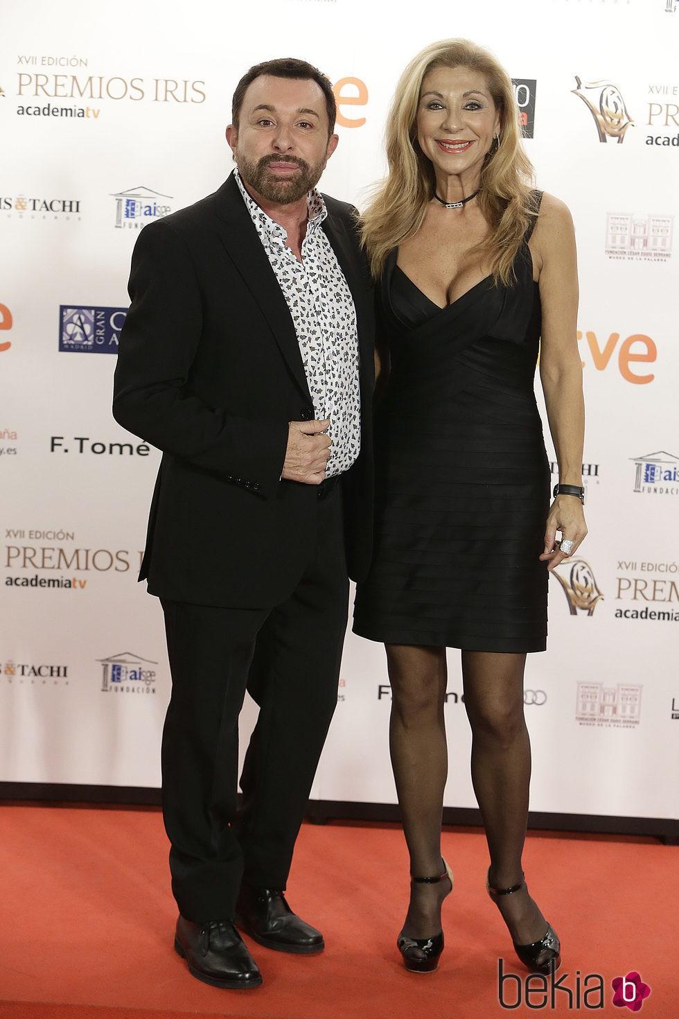 José Manuel Parada y Jenny Jada en los XVII Premios Iris de la Academia de Televisión 2015