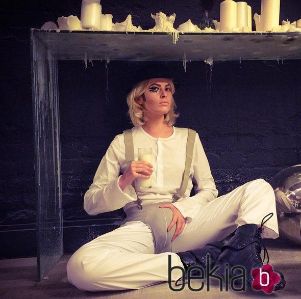 Adriana Abenia convertida en 'La naranja mecánica' para celebrar Halloween 2015