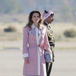 Rania de Jordania a su llegada a Madrid para su viaje de trabajo a España