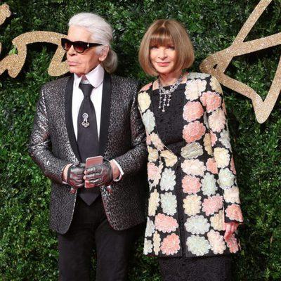 Karl Lagerfeld y Anna Wintour en los British Fashion Awards 2015