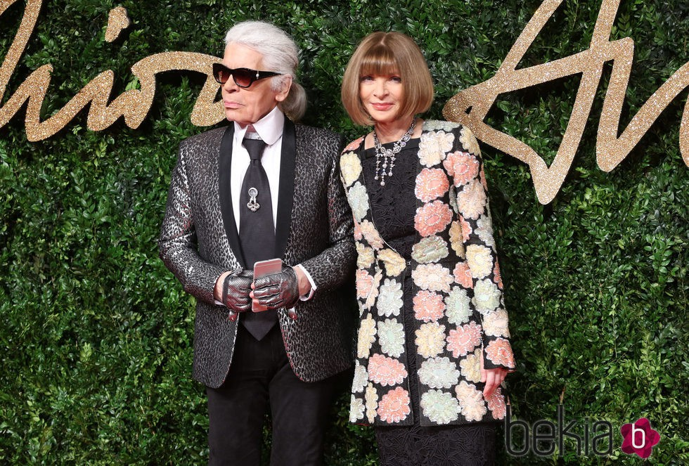 Karl Lagerfeld y Anna Wintour en los British Fashion Awards 2015